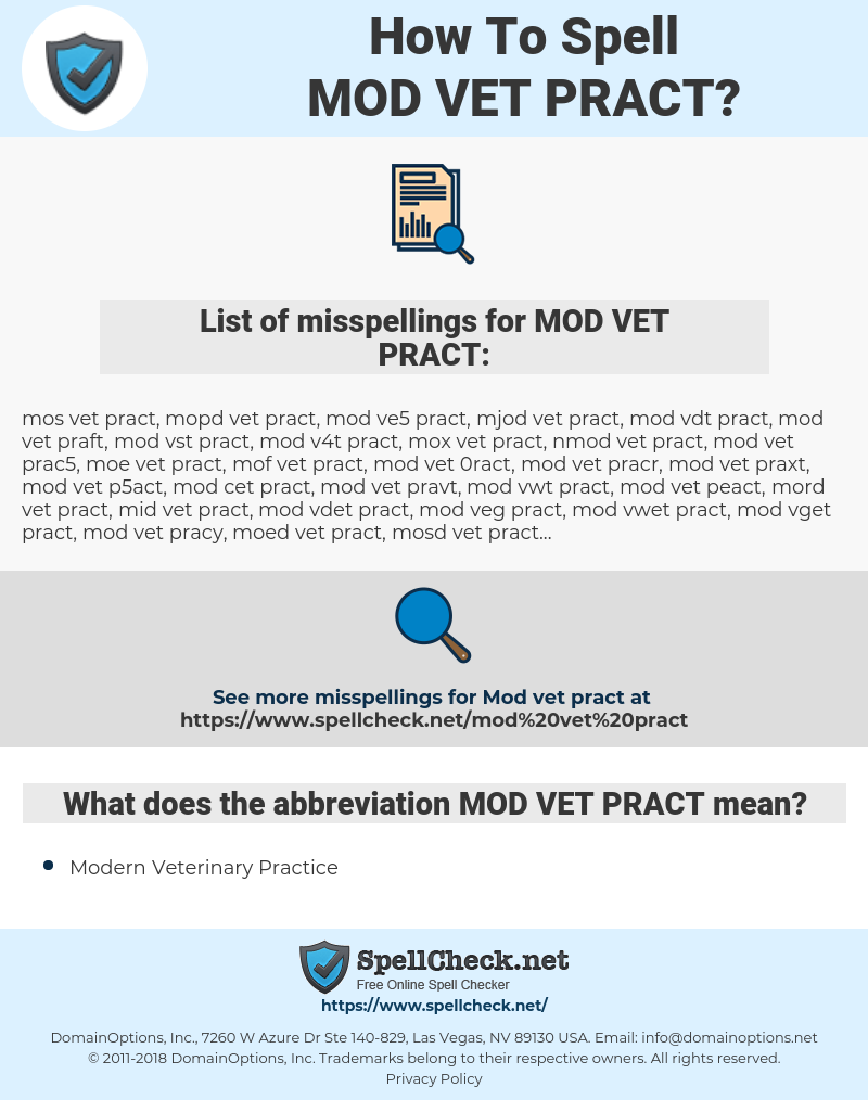 How To Spell Mod vet pract (And How To Misspell It Too) | Spellcheck net