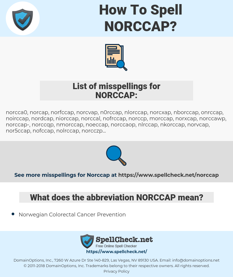 How To Spell Norccap And How To Misspell It Too Spellcheck Net