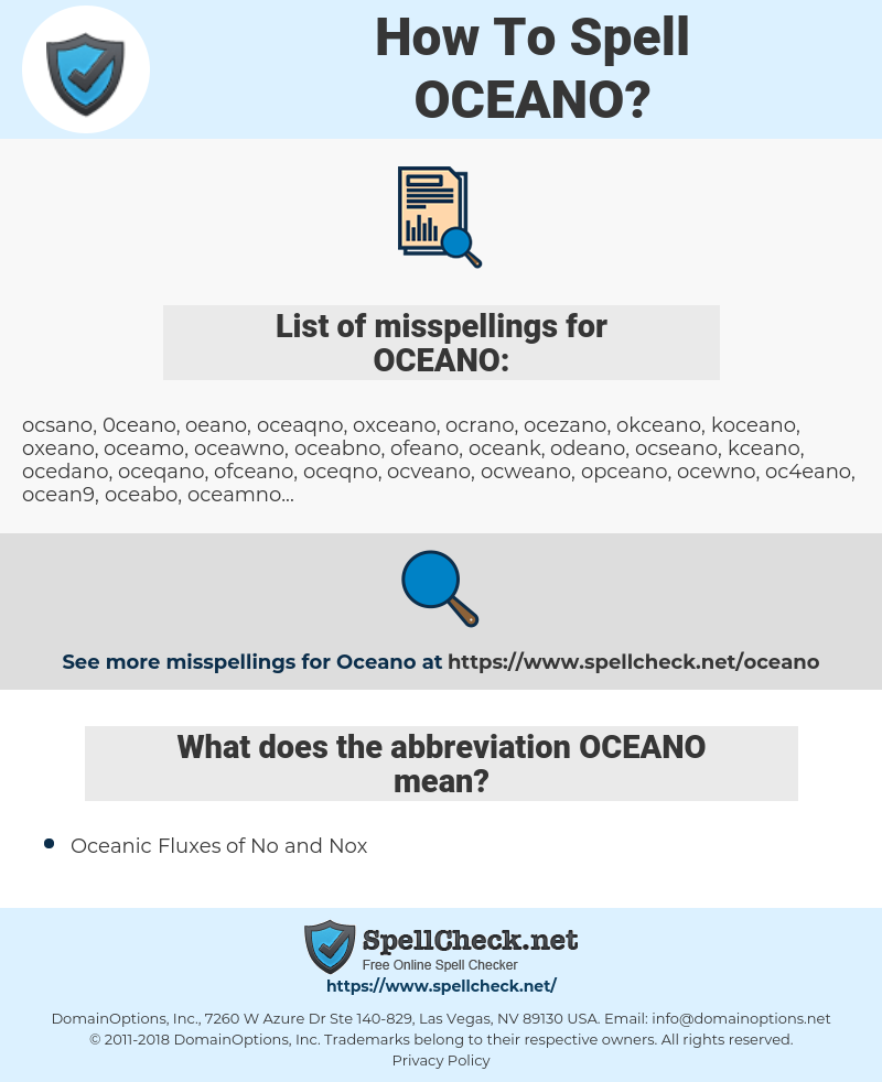 OCEANO, spellcheck OCEANO, how to spell OCEANO, how do you spell OCEANO, correct spelling for OCEANO