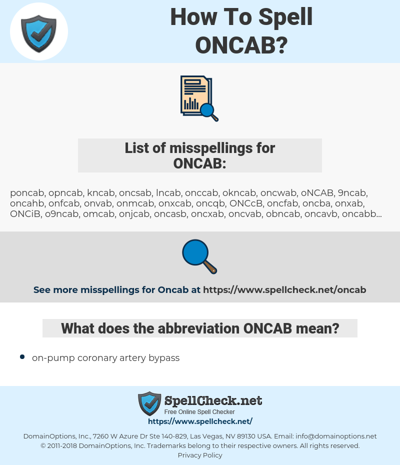 ONCAB, spellcheck ONCAB, how to spell ONCAB, how do you spell ONCAB, correct spelling for ONCAB
