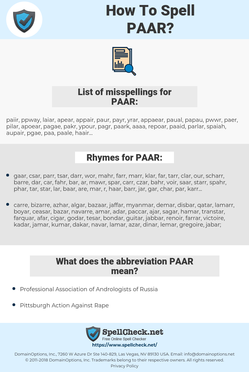 PAAR, spellcheck PAAR, how to spell PAAR, how do you spell PAAR, correct spelling for PAAR