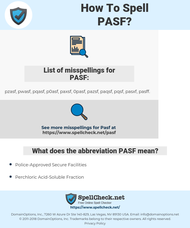PASF, spellcheck PASF, how to spell PASF, how do you spell PASF, correct spelling for PASF