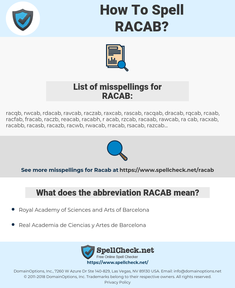 RACAB, spellcheck RACAB, how to spell RACAB, how do you spell RACAB, correct spelling for RACAB