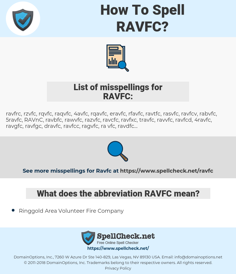 RAVFC, spellcheck RAVFC, how to spell RAVFC, how do you spell RAVFC, correct spelling for RAVFC