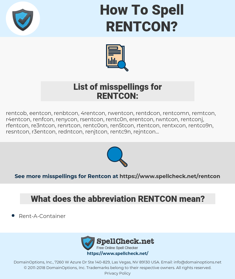 RENTCON, spellcheck RENTCON, how to spell RENTCON, how do you spell RENTCON, correct spelling for RENTCON