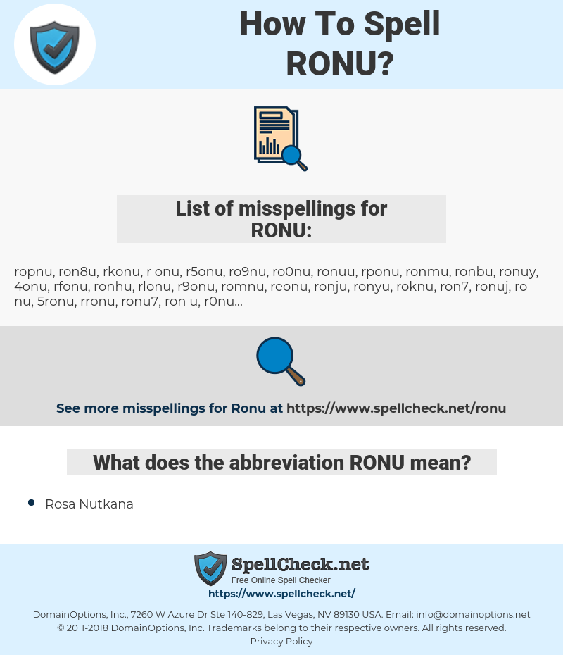 RONU, spellcheck RONU, how to spell RONU, how do you spell RONU, correct spelling for RONU