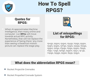 RPGS, spellcheck RPGS, how to spell RPGS, how do you spell RPGS, correct spelling for RPGS