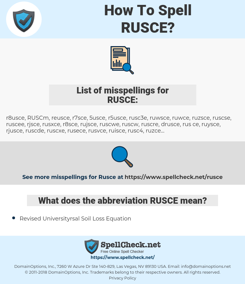 RUSCE, spellcheck RUSCE, how to spell RUSCE, how do you spell RUSCE, correct spelling for RUSCE