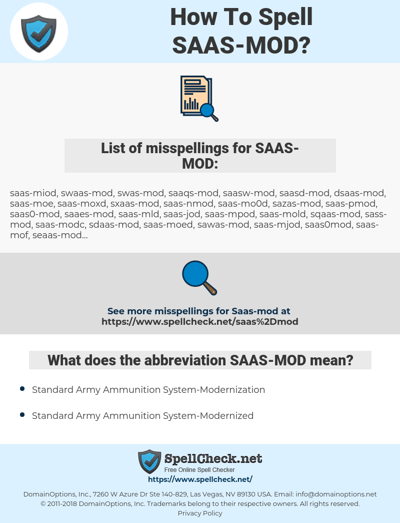 SAAS-MOD, spellcheck SAAS-MOD, how to spell SAAS-MOD, how do you spell SAAS-MOD, correct spelling for SAAS-MOD