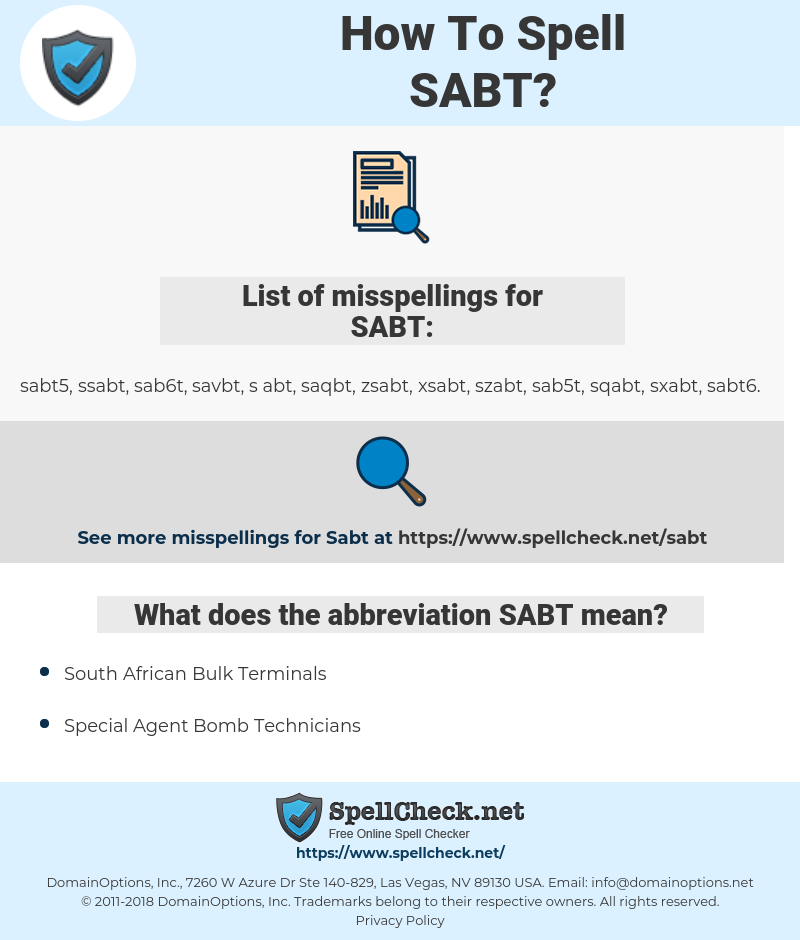 SABT, spellcheck SABT, how to spell SABT, how do you spell SABT, correct spelling for SABT