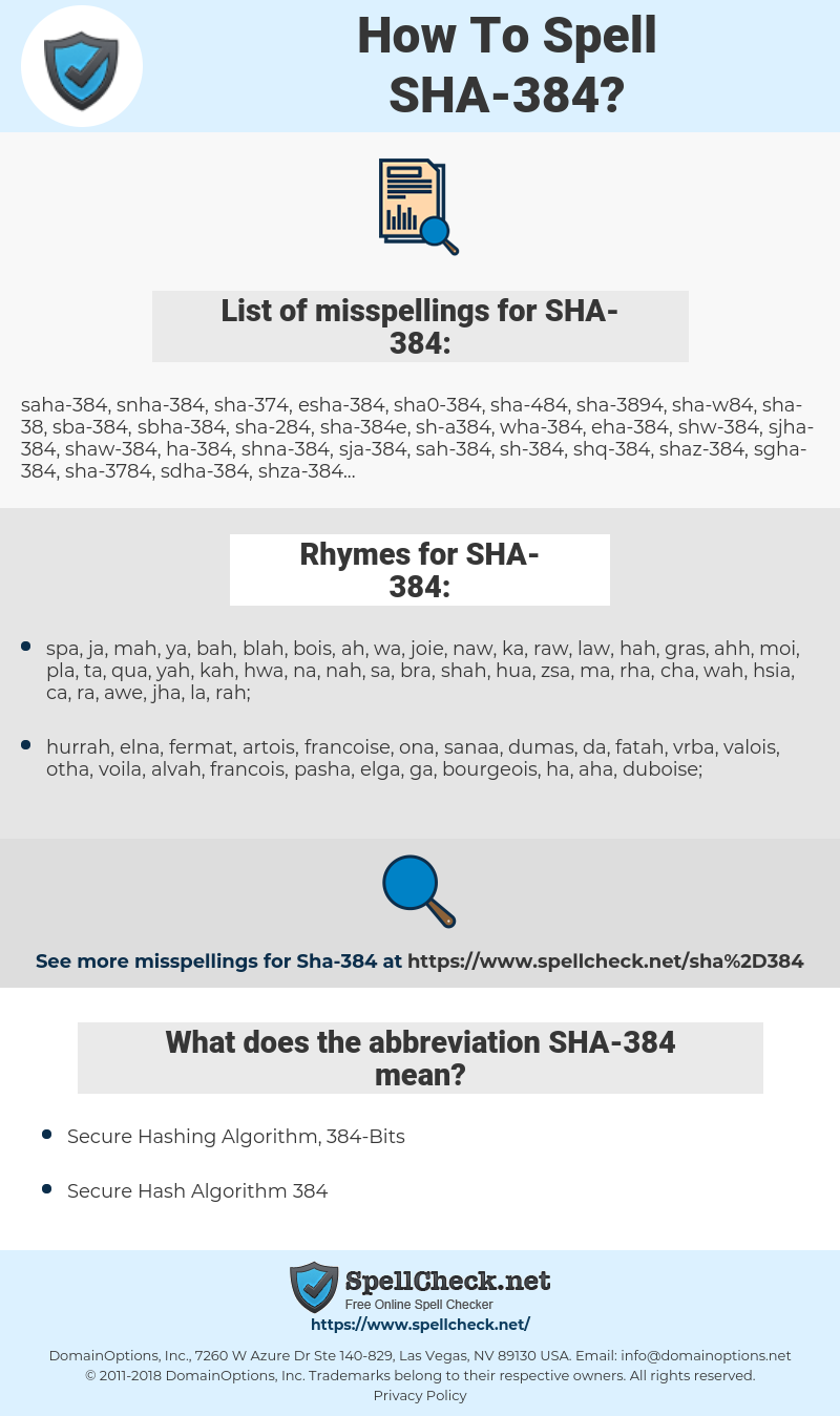 How To Spell Sha-384 (And How To Misspell It Too