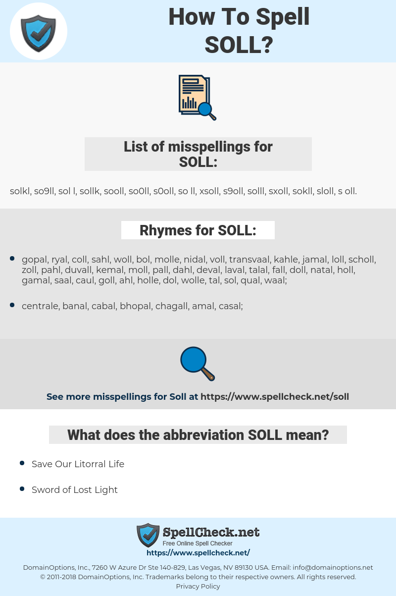 SOLL, spellcheck SOLL, how to spell SOLL, how do you spell SOLL, correct spelling for SOLL