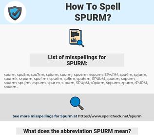 SPURM, spellcheck SPURM, how to spell SPURM, how do you spell SPURM, correct spelling for SPURM