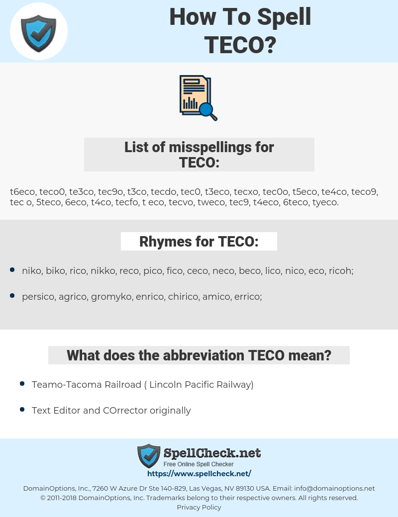 TECO, spellcheck TECO, how to spell TECO, how do you spell TECO, correct spelling for TECO