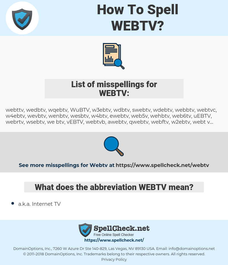How To Spell Webtv (And How To Misspell It Too) | Spellcheck net