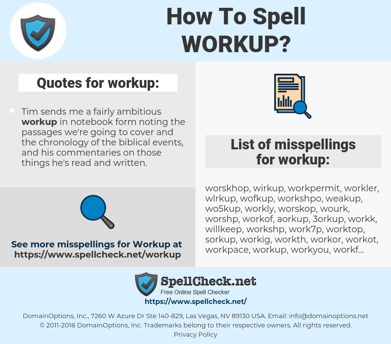 workup, spellcheck workup, how to spell workup, how do you spell workup, correct spelling for workup