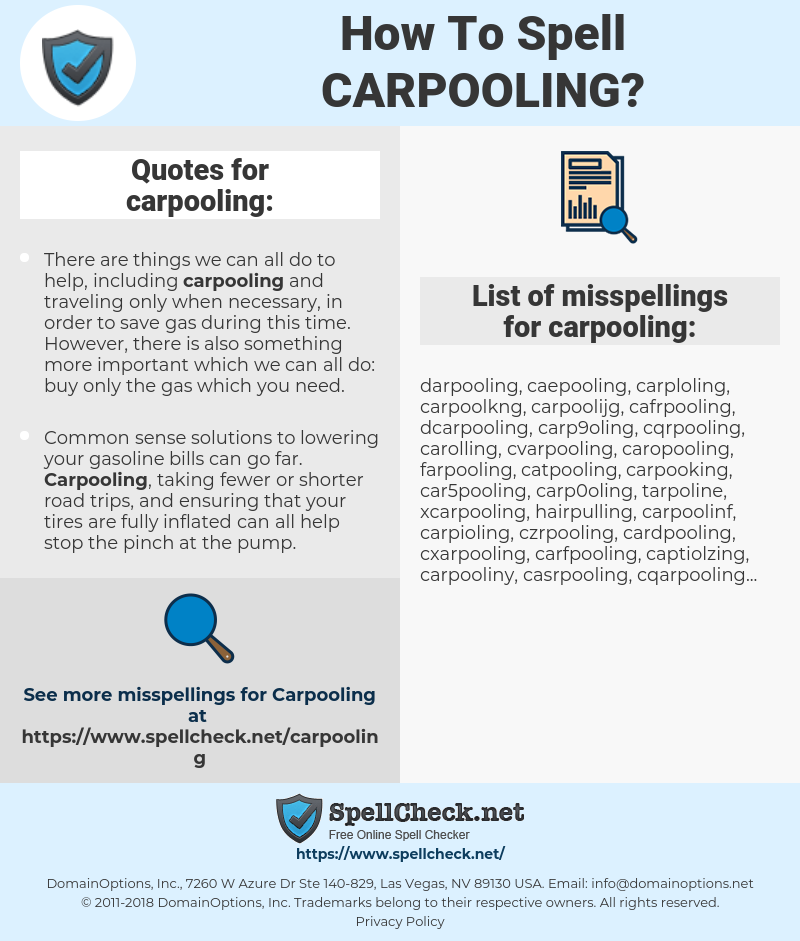 How To Spell Carpooling And How To Misspell It Too Spellcheck Net