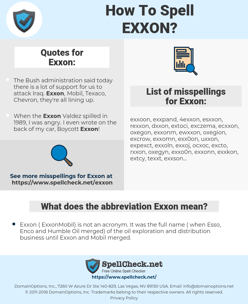 Exxon, spellcheck Exxon, how to spell Exxon, how do you spell Exxon, correct spelling for Exxon