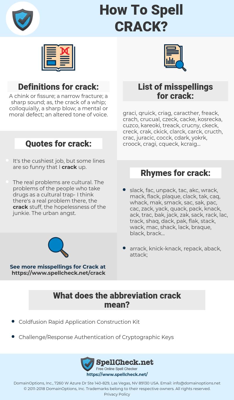 crack, spellcheck crack, how to spell crack, how do you spell crack, correct spelling for crack