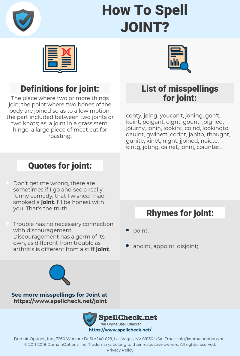 joint, spellcheck joint, how to spell joint, how do you spell joint, correct spelling for joint