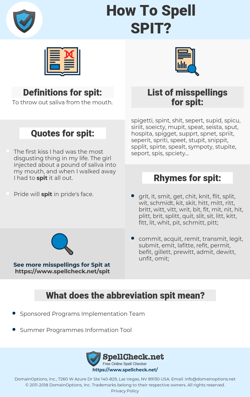 spit, spellcheck spit, how to spell spit, how do you spell spit, correct spelling for spit