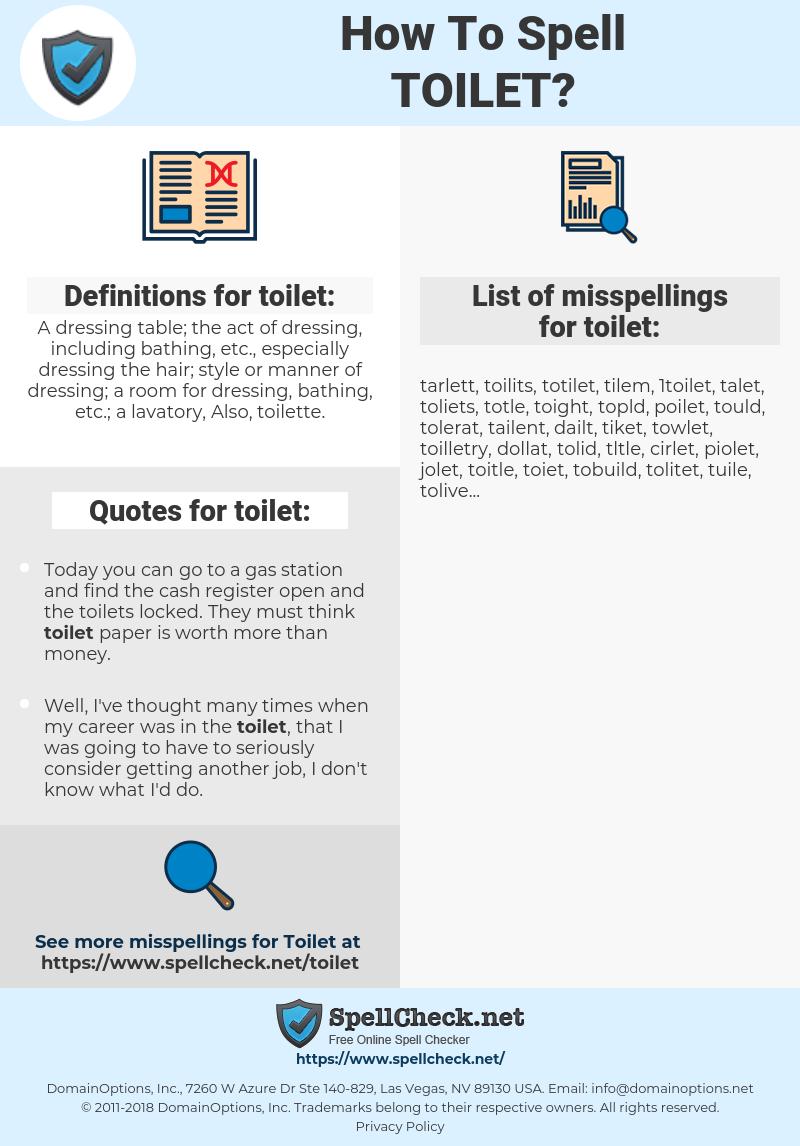 toilet, spellcheck toilet, how to spell toilet, how do you spell toilet, correct spelling for toilet