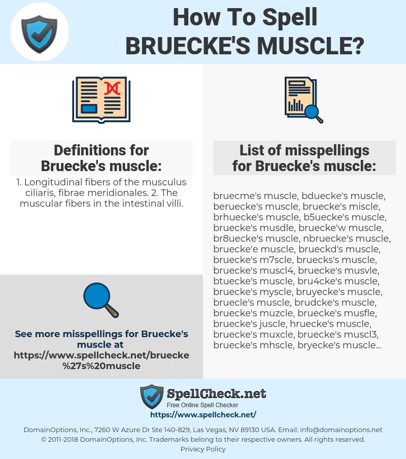Bruecke's muscle, spellcheck Bruecke's muscle, how to spell Bruecke's muscle, how do you spell Bruecke's muscle, correct spelling for Bruecke's muscle