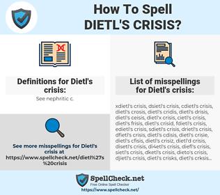 Dietl's crisis, spellcheck Dietl's crisis, how to spell Dietl's crisis, how do you spell Dietl's crisis, correct spelling for Dietl's crisis