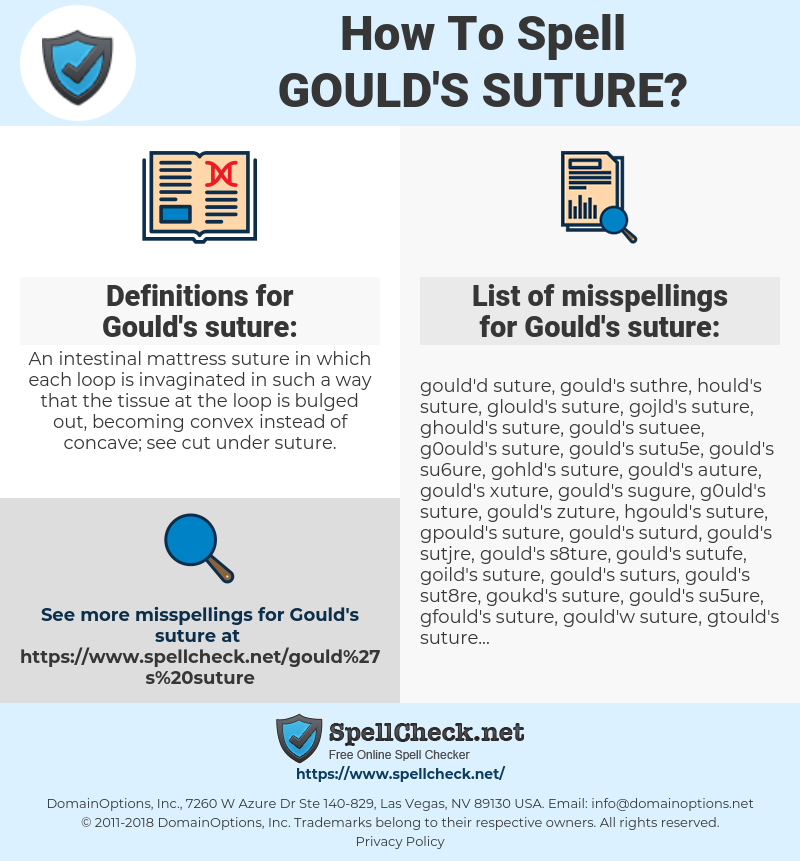 Gould's suture, spellcheck Gould's suture, how to spell Gould's suture, how do you spell Gould's suture, correct spelling for Gould's suture