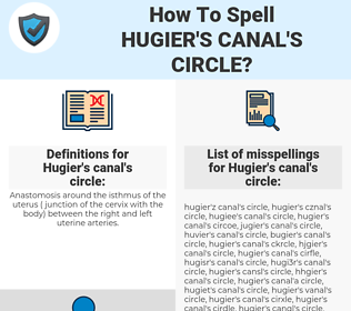 Hugier's canal's circle, spellcheck Hugier's canal's circle, how to spell Hugier's canal's circle, how do you spell Hugier's canal's circle, correct spelling for Hugier's canal's circle