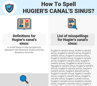 Hugier's canal's sinus, spellcheck Hugier's canal's sinus, how to spell Hugier's canal's sinus, how do you spell Hugier's canal's sinus, correct spelling for Hugier's canal's sinus