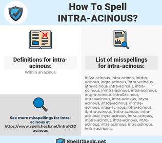 intra-acinous, spellcheck intra-acinous, how to spell intra-acinous, how do you spell intra-acinous, correct spelling for intra-acinous