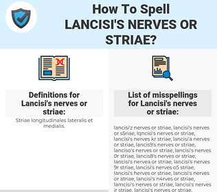 Lancisi's nerves or striae, spellcheck Lancisi's nerves or striae, how to spell Lancisi's nerves or striae, how do you spell Lancisi's nerves or striae, correct spelling for Lancisi's nerves or striae
