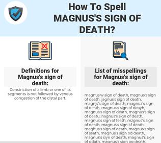 Magnus's sign of death, spellcheck Magnus's sign of death, how to spell Magnus's sign of death, how do you spell Magnus's sign of death, correct spelling for Magnus's sign of death
