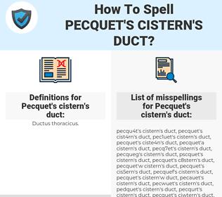 Pecquet's cistern's duct, spellcheck Pecquet's cistern's duct, how to spell Pecquet's cistern's duct, how do you spell Pecquet's cistern's duct, correct spelling for Pecquet's cistern's duct