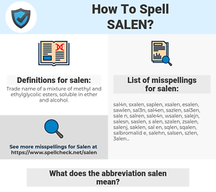 salen, spellcheck salen, how to spell salen, how do you spell salen, correct spelling for salen