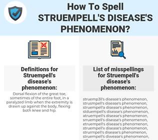 Struempell's disease's phenomenon, spellcheck Struempell's disease's phenomenon, how to spell Struempell's disease's phenomenon, how do you spell Struempell's disease's phenomenon, correct spelling for Struempell's disease's phenomenon