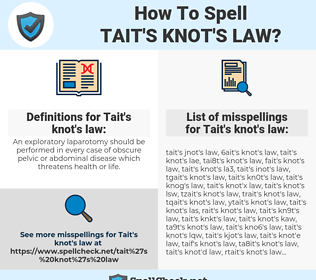 Tait's knot's law, spellcheck Tait's knot's law, how to spell Tait's knot's law, how do you spell Tait's knot's law, correct spelling for Tait's knot's law