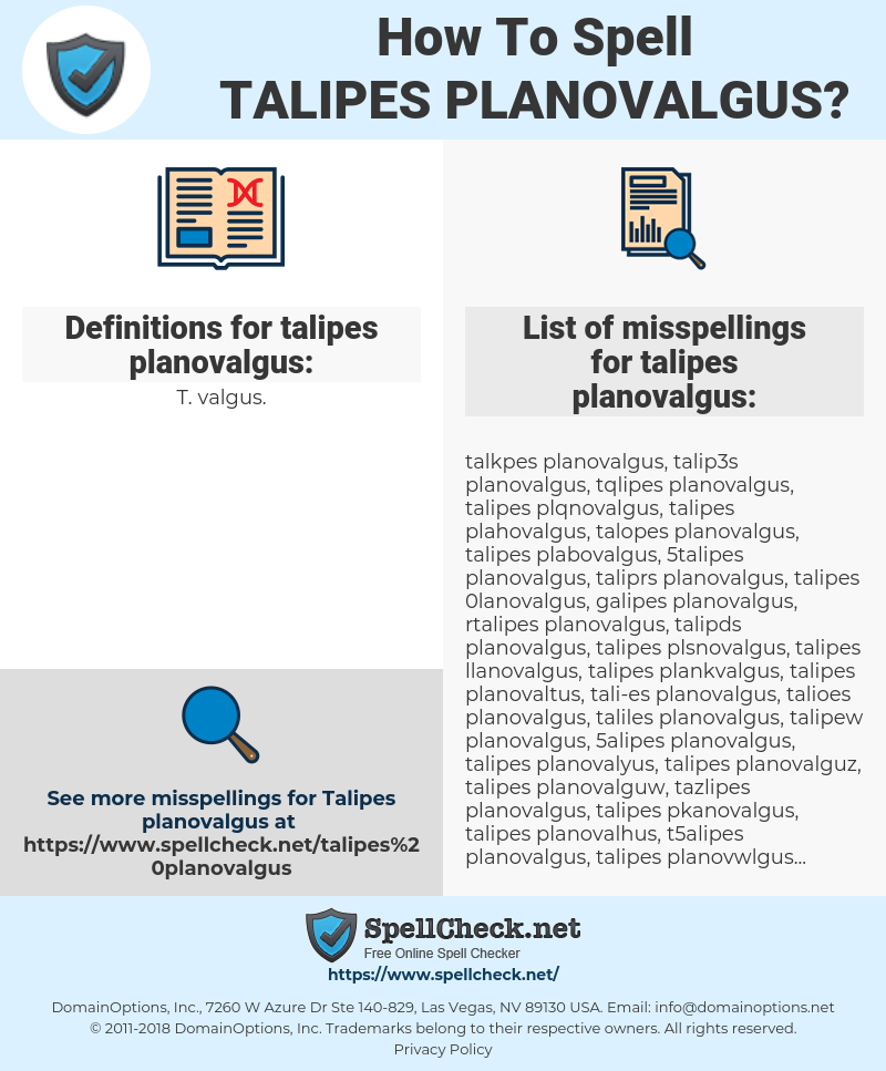 How To Spell Talipes Planovalgus And How To Misspell It Too