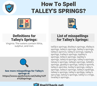 Talley's Springs, spellcheck Talley's Springs, how to spell Talley's Springs, how do you spell Talley's Springs, correct spelling for Talley's Springs