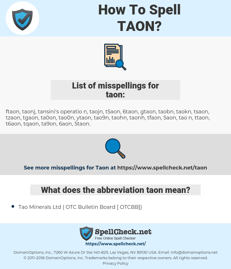taon, spellcheck taon, how to spell taon, how do you spell taon, correct spelling for taon