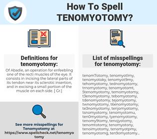 tenomyotomy, spellcheck tenomyotomy, how to spell tenomyotomy, how do you spell tenomyotomy, correct spelling for tenomyotomy