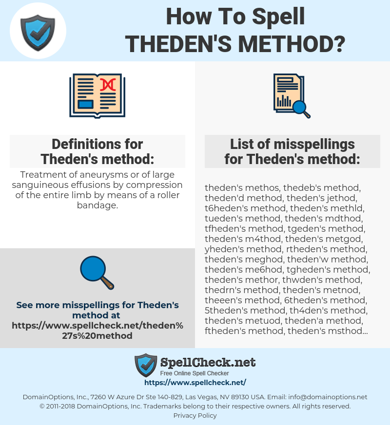 Theden's method, spellcheck Theden's method, how to spell Theden's method, how do you spell Theden's method, correct spelling for Theden's method