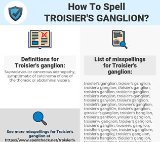 Troisier's ganglion, spellcheck Troisier's ganglion, how to spell Troisier's ganglion, how do you spell Troisier's ganglion, correct spelling for Troisier's ganglion