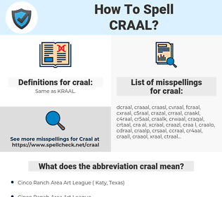 craal, spellcheck craal, how to spell craal, how do you spell craal, correct spelling for craal