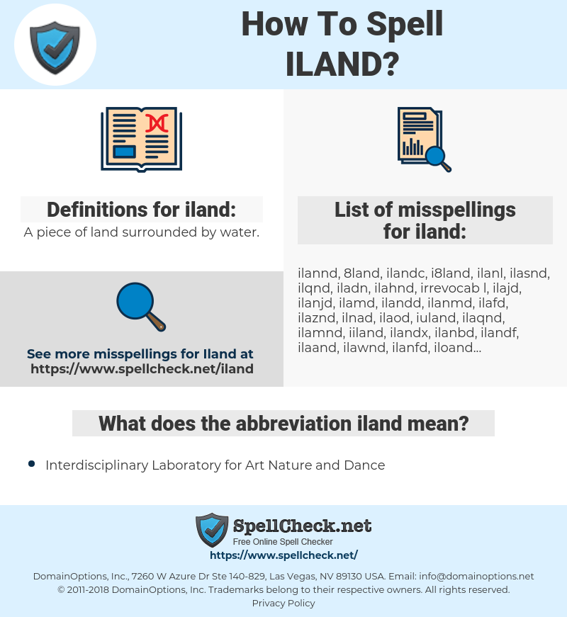 iland, spellcheck iland, how to spell iland, how do you spell iland, correct spelling for iland