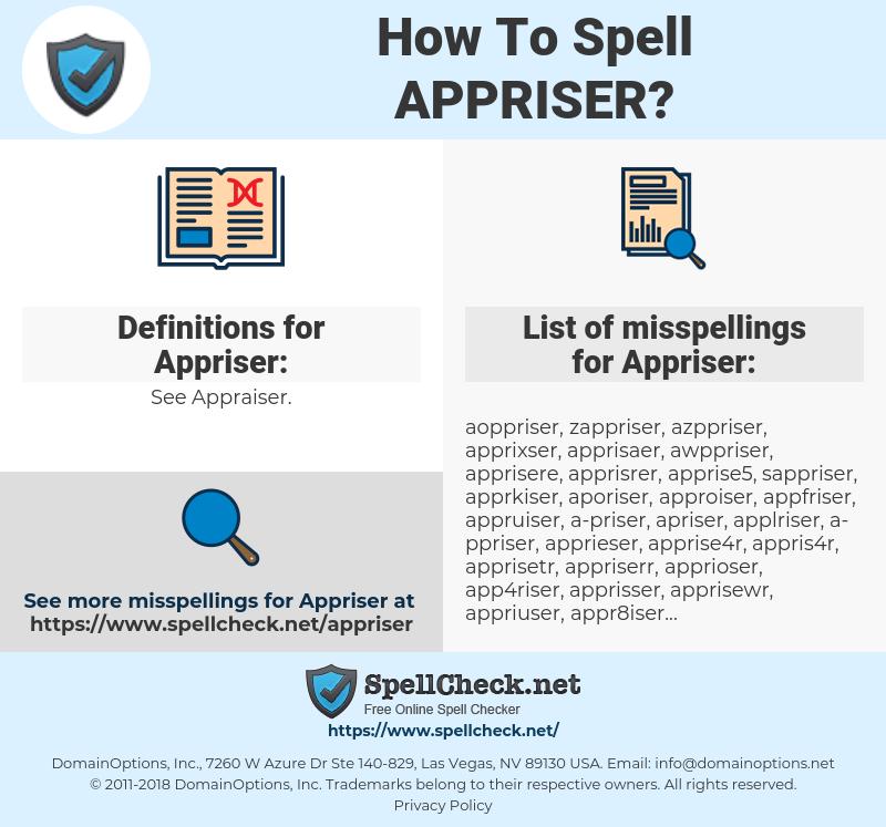 Appriser, spellcheck Appriser, how to spell Appriser, how do you spell Appriser, correct spelling for Appriser