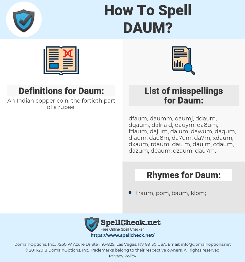 Daum, spellcheck Daum, how to spell Daum, how do you spell Daum, correct spelling for Daum