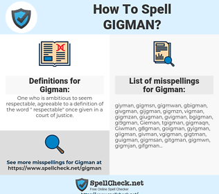 Gigman, spellcheck Gigman, how to spell Gigman, how do you spell Gigman, correct spelling for Gigman