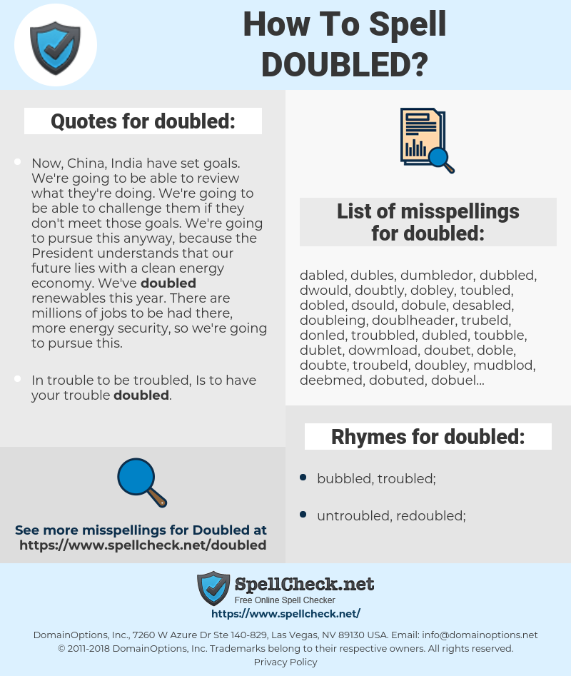 doubled, spellcheck doubled, how to spell doubled, how do you spell doubled, correct spelling for doubled